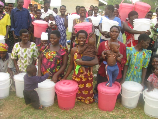 caregivers with the buckets